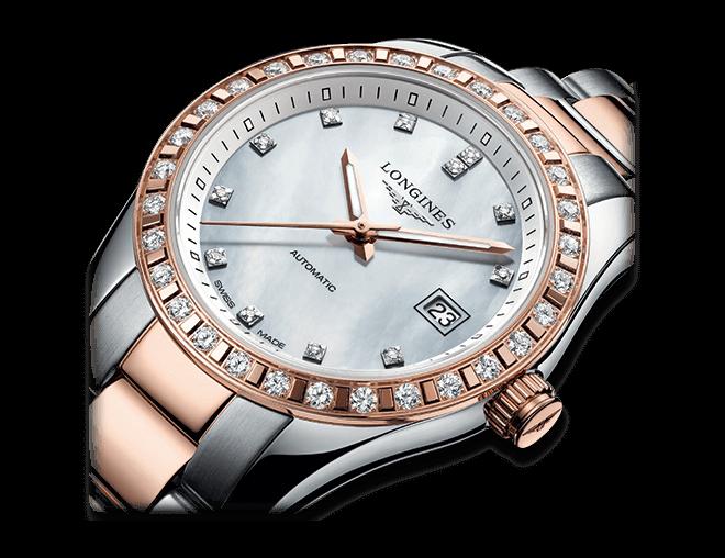 Damenuhr Longines Conquest Classic Automatik 29,5mm mit Diamanten, perlmuttfarbenem Zifferblatt und Edelstahlarmband