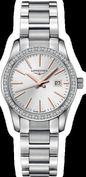 Damenuhr Longines Conquest Classic Quarz 29,5mm mit Diamanten, silberfarbenem Zifferblatt und Edelstahlarmband
