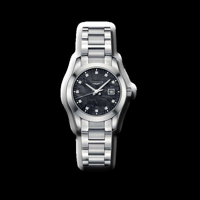 Damenuhr Longines Conquest Classic Quarz 29,5mm mit Diamanten, schwarzem Zifferblatt und Edelstahlarmband bei Brogle