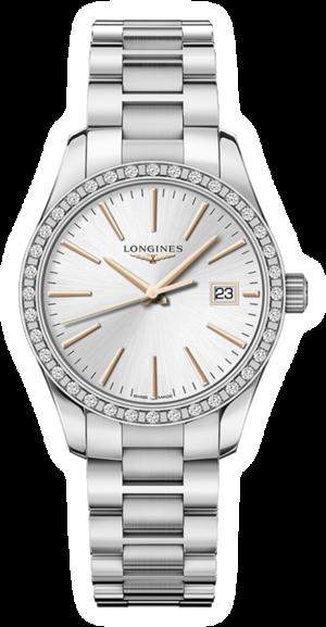 Damenuhr Longines Conquest Classic Quarz 34mm mit Diamanten, silberfarbenem Zifferblatt und Edelstahlarmband