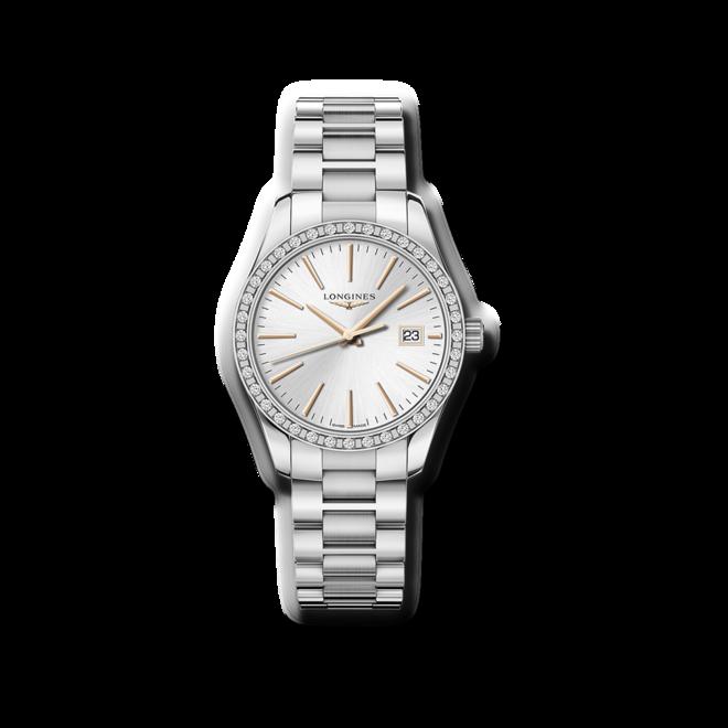 Damenuhr Longines Conquest Classic Quarz 34mm mit Diamanten, silberfarbenem Zifferblatt und Edelstahlarmband bei Brogle