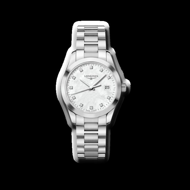 Damenuhr Longines Conquest Classic Quarz 34mm mit Diamanten, perlmuttfarbenem Zifferblatt und Edelstahlarmband bei Brogle