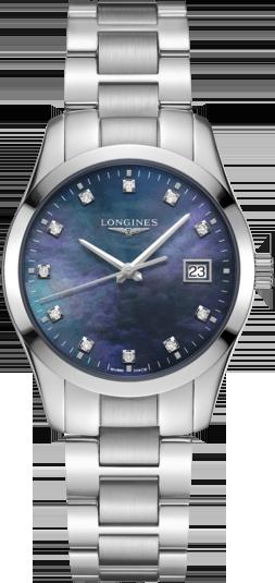 Damenuhr Longines Conquest Classic Quarz 34mm mit Diamanten, blauem Zifferblatt und Edelstahlarmband