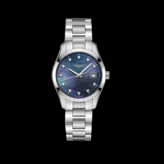 Damenuhr Longines Conquest Classic Quarz 34mm mit Diamanten, blauem Zifferblatt und Edelstahlarmband bei Brogle