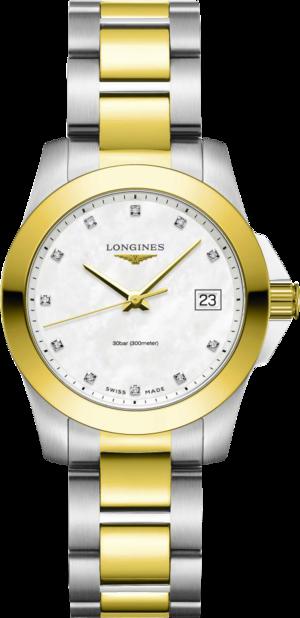 Damenuhr Longines Conquest Classic Quarz 34mm mit Diamanten, perlmuttfarbenem Zifferblatt und Edelstahlarmband