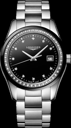 Damenuhr Longines Conquest Classic Quarz 36mm mit Diamanten, schwarzem Zifferblatt und Edelstahlarmband