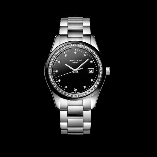 Damenuhr Longines Conquest Classic Quarz 36mm mit Diamanten, schwarzem Zifferblatt und Edelstahlarmband bei Brogle