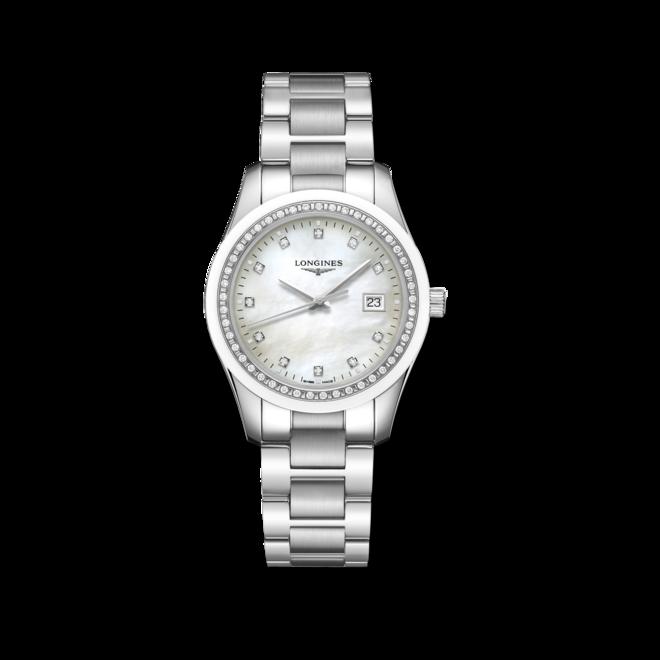 Damenuhr Longines Conquest Classic Quarz 36mm mit Diamanten, weißem Zifferblatt und Edelstahlarmband bei Brogle