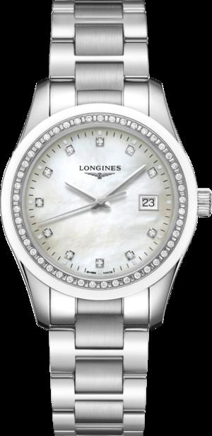 Damenuhr Longines Conquest Classic Quarz 36mm mit Diamanten, weißem Zifferblatt und Edelstahlarmband