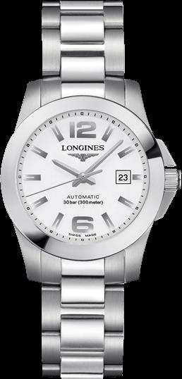 Damenuhr Longines Conquest Automatik 29,5mm mit weißem Zifferblatt und Edelstahlarmband
