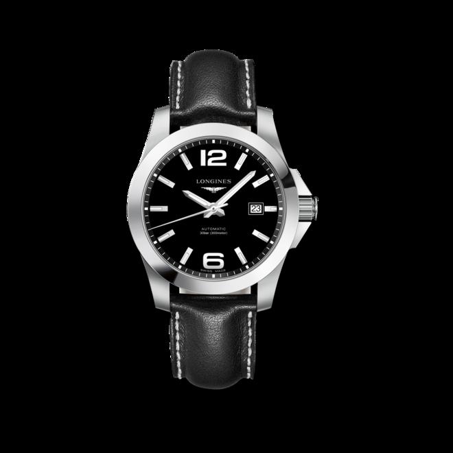 Herrenuhr Longines Conquest Automatik 41mm mit schwarzem Zifferblatt und Kalbsleder-Armband bei Brogle