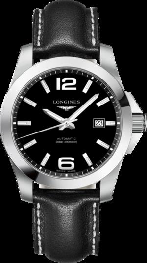 Herrenuhr Longines Conquest Automatik 41mm mit schwarzem Zifferblatt und Kalbsleder-Armband