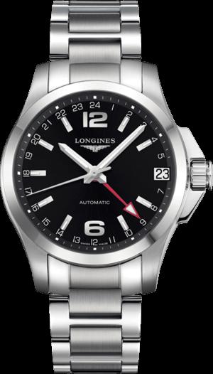 Herrenuhr Longines Conquest Automatik GMT 41mm mit schwarzem Zifferblatt und Edelstahlarmband