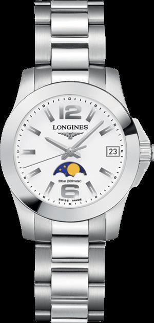 Damenuhr Longines Conquest Mondphase Quarz 29,5mm mit weißem Zifferblatt und Edelstahlarmband