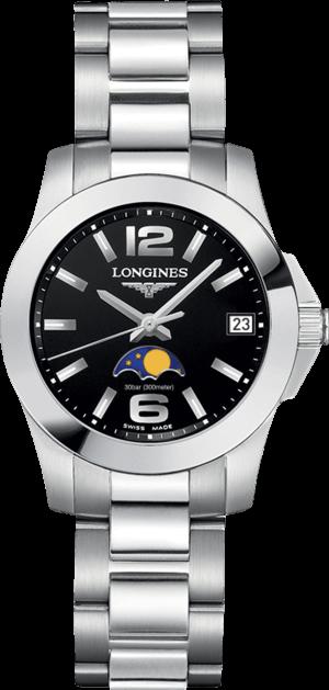 Damenuhr Longines Conquest Mondphase Quarz 29,5mm mit schwarzem Zifferblatt und Edelstahlarmband