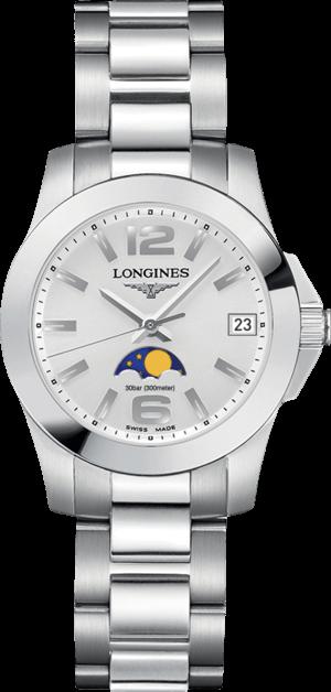 Damenuhr Longines Conquest Mondphase Quarz 29,5mm mit silberfarbenem Zifferblatt und Edelstahlarmband