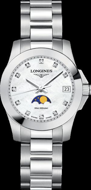 Damenuhr Longines Conquest Mondphase Quarz 29,5mm mit Diamanten, perlmuttfarbenem Zifferblatt und Edelstahlarmband