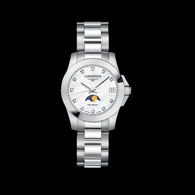 Damenuhr Longines Conquest Mondphase Quarz 29,5mm mit Diamanten, perlmuttfarbenem Zifferblatt und Edelstahlarmband bei Brogle