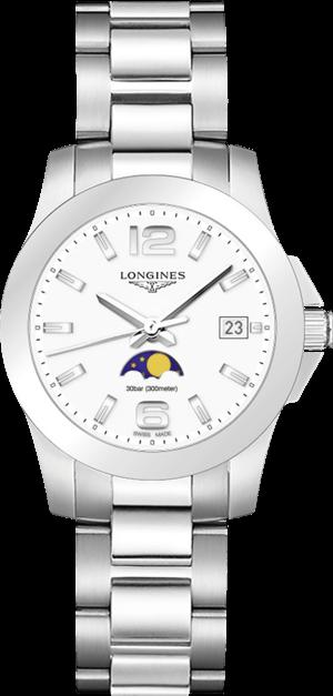 Damenuhr Longines Conquest Mondphase Quarz 34mm mit weißem Zifferblatt und Edelstahlarmband