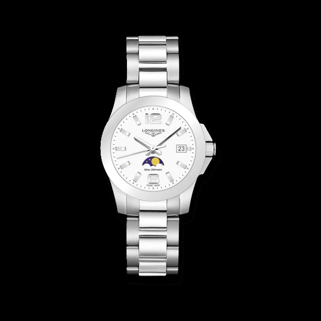 Damenuhr Longines Conquest Mondphase Quarz 34mm mit weißem Zifferblatt und Edelstahlarmband bei Brogle