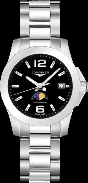 Damenuhr Longines Conquest Mondphase Quarz 34mm mit schwarzem Zifferblatt und Edelstahlarmband