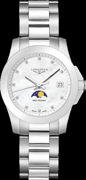 Damenuhr Longines Conquest Mondphase Quarz 34mm mit Diamanten, perlmuttfarbenem Zifferblatt und Edelstahlarmband
