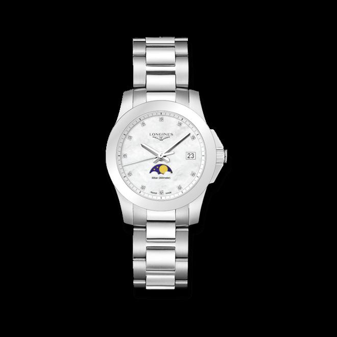 Damenuhr Longines Conquest Mondphase Quarz 34mm mit Diamanten, perlmuttfarbenem Zifferblatt und Edelstahlarmband bei Brogle