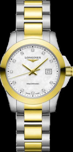 Damenuhr Longines Conquest Quartz 29,5mm mit Diamanten, silberfarbenem Zifferblatt und Edelstahlarmband