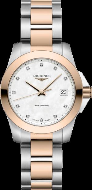 Damenuhr Longines Conquest Quartz 34mm mit Diamanten, silberfarbenem Zifferblatt und Edelstahlarmband