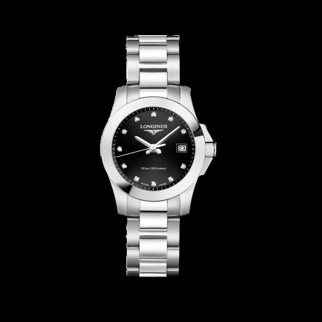 Damenuhr Longines Conquest Quarz 29,5mm mit Diamanten, schwarzem Zifferblatt und Edelstahlarmband bei Brogle