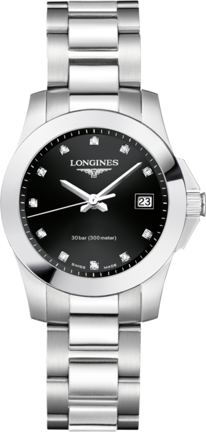 Damenuhr Longines Conquest Quarz 29,5mm mit Diamanten, schwarzem Zifferblatt und Edelstahlarmband