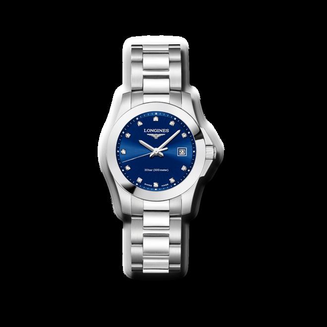 Damenuhr Longines Conquest Quarz 29,5mm mit Diamanten, blauem Zifferblatt und Edelstahlarmband bei Brogle
