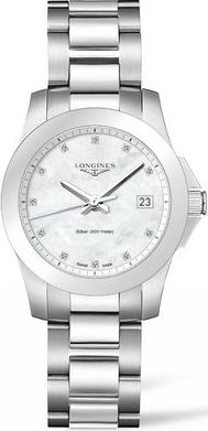 Damenuhr Longines Conquest Quarz 34mm mit Diamanten, perlmuttfarbenem Zifferblatt und Edelstahlarmband