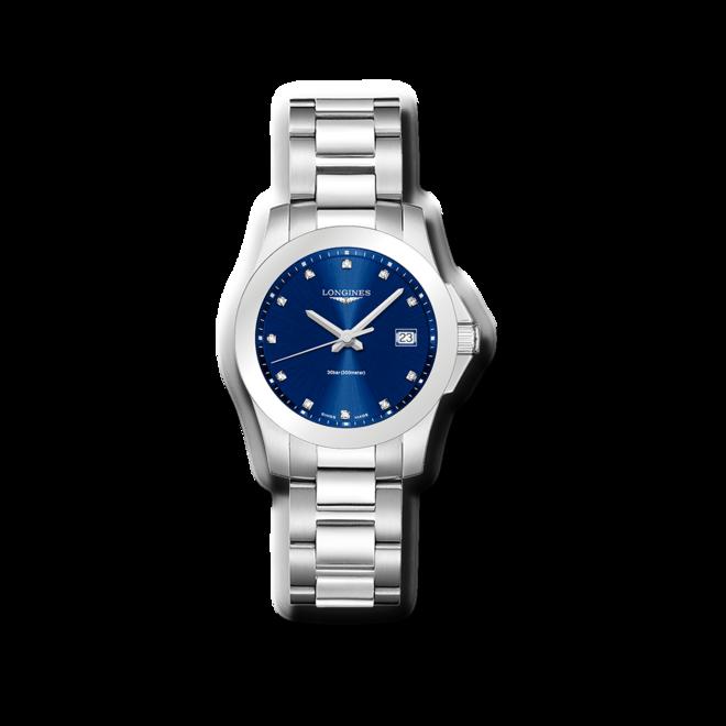 Damenuhr Longines Conquest Quarz 34mm mit Diamanten, blauem Zifferblatt und Edelstahlarmband bei Brogle