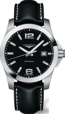 Herrenuhr Longines Conquest Quarz 41mm mit schwarzem Zifferblatt und Kalbsleder-Armband