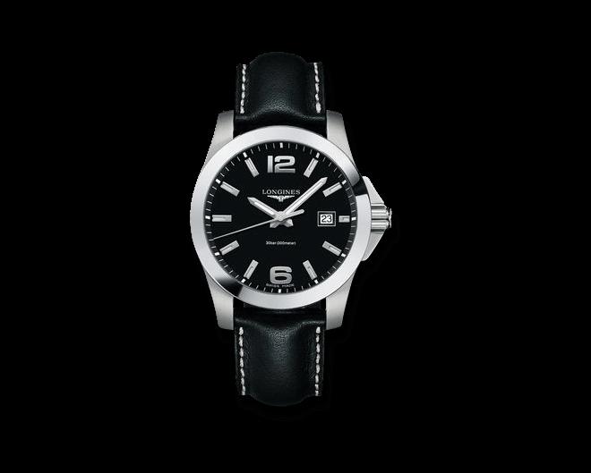 Herrenuhr Longines Conquest Quarz 41mm mit schwarzem Zifferblatt und Kalbsleder-Armband bei Brogle