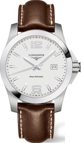 Herrenuhr Longines Conquest Quarz 41mm mit silberfarbenem Zifferblatt und Kalbsleder-Armband