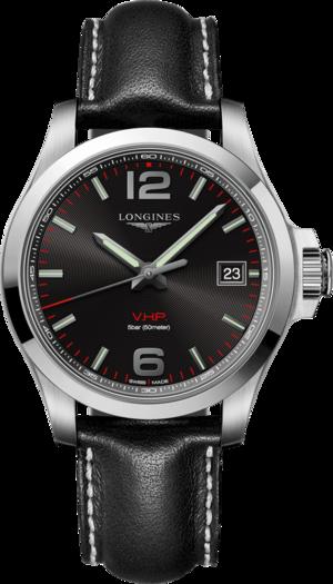 Herrenuhr Longines Conquest Quarz VHP 41mm mit schwarzem Zifferblatt und Kalbsleder-Armband