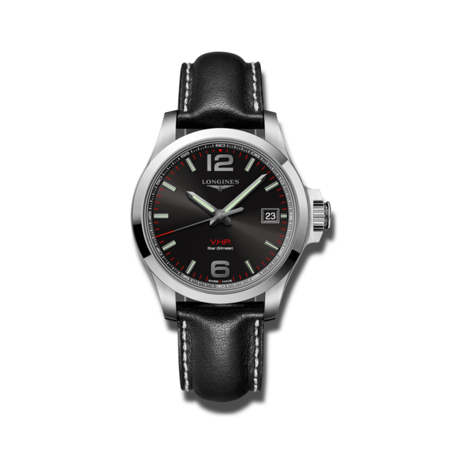 Herrenuhr Longines Conquest Quarz VHP 41mm mit schwarzem Zifferblatt und Kalbsleder-Armband bei Brogle