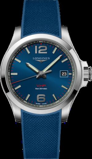 Herrenuhr Longines Conquest Quarz VHP 41mm mit blauem Zifferblatt und Kautschukarmband