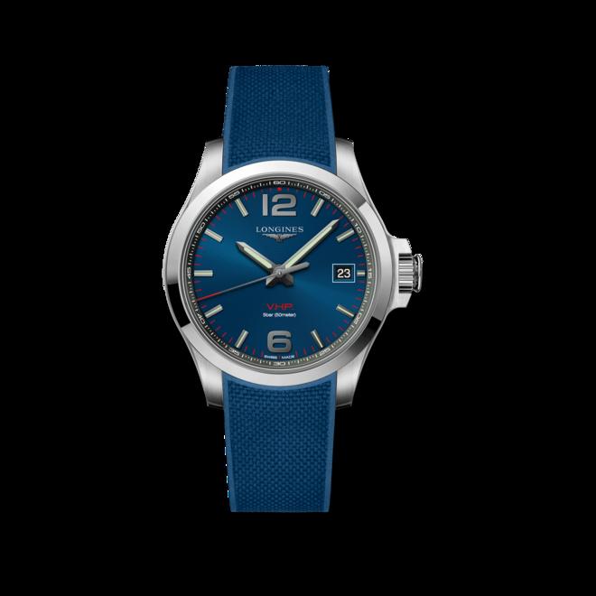 Herrenuhr Longines Conquest Quarz VHP 41mm mit blauem Zifferblatt und Kautschukarmband bei Brogle