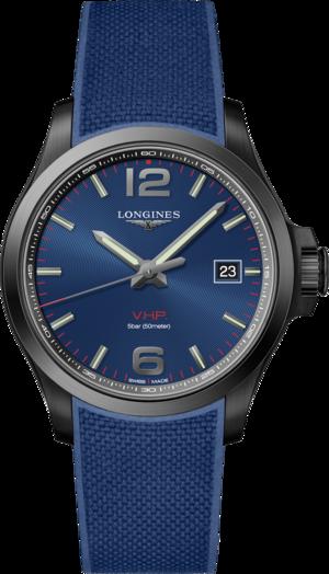 Herrenuhr Longines Conquest Quarz VHP 43mm mit blauem Zifferblatt und Kautschukarmband