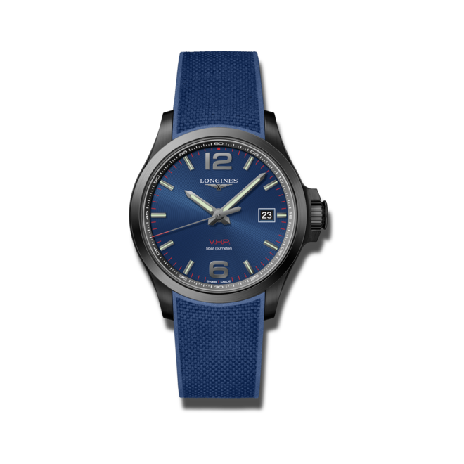 Herrenuhr Longines Conquest Quarz VHP 43mm mit blauem Zifferblatt und Kautschukarmband bei Brogle