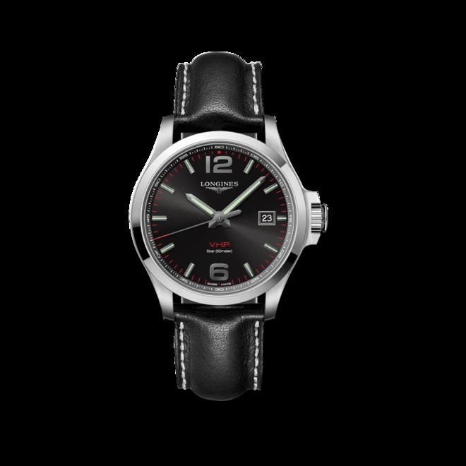 Herrenuhr Longines Conquest Quarz VHP 43mm mit schwarzem Zifferblatt und Kalbsleder-Armband bei Brogle