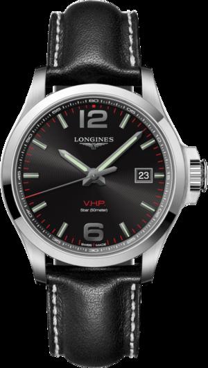 Herrenuhr Longines Conquest Quarz VHP 43mm mit schwarzem Zifferblatt und Kalbsleder-Armband