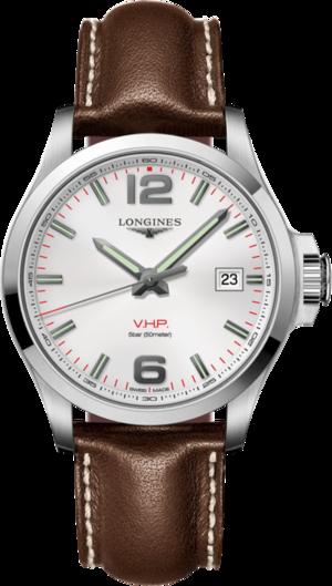 Herrenuhr Longines Conquest Quarz VHP 43mm mit silberfarbenem Zifferblatt und Kalbsleder-Armband