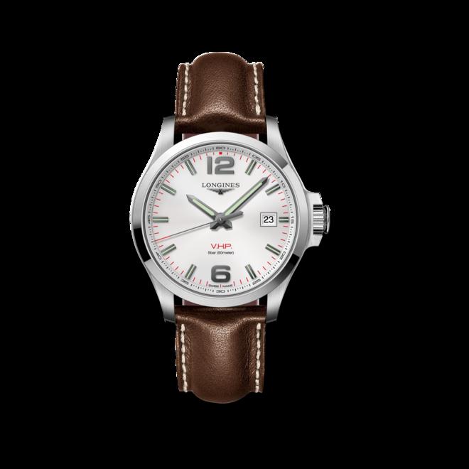 Herrenuhr Longines Conquest Quarz VHP 43mm mit silberfarbenem Zifferblatt und Kalbsleder-Armband bei Brogle