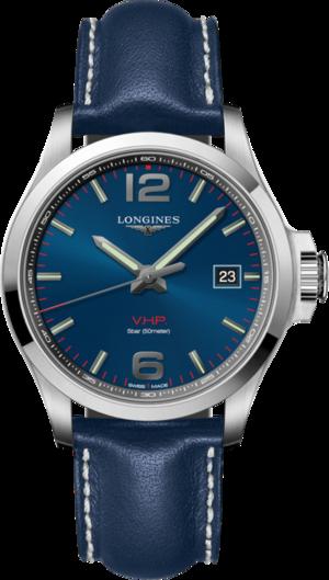 Herrenuhr Longines Conquest Quarz VHP 43mm mit blauem Zifferblatt und Kalbsleder-Armband