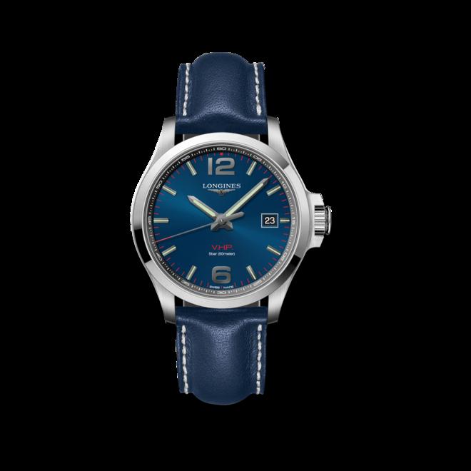 Herrenuhr Longines Conquest Quarz VHP 43mm mit blauem Zifferblatt und Kalbsleder-Armband bei Brogle
