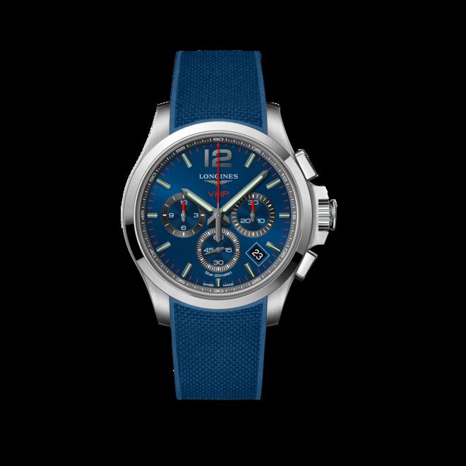 Herrenuhr Longines Conquest Quarz VHP Chrono 42mm mit blauem Zifferblatt und Kautschukarmband bei Brogle